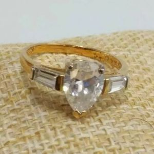 GOLD PLATED .925 Silver CZ Engagement ring